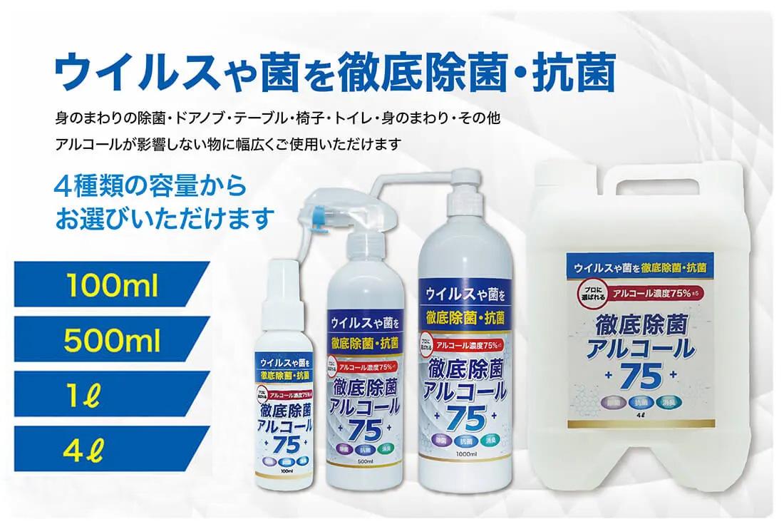 徹底除菌アルコール濃度75%。持ち運び用、設置用(入り口用)、詰め替え用など、広がる多様な用途に対応する豊富なサイズラインナップ!