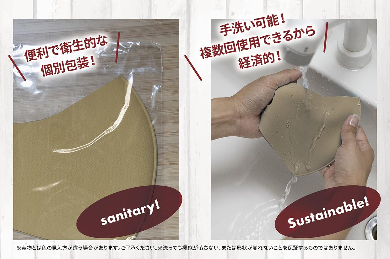 便利で衛生的な個別包装 手洗い可能!複数回使用できるから経済的!