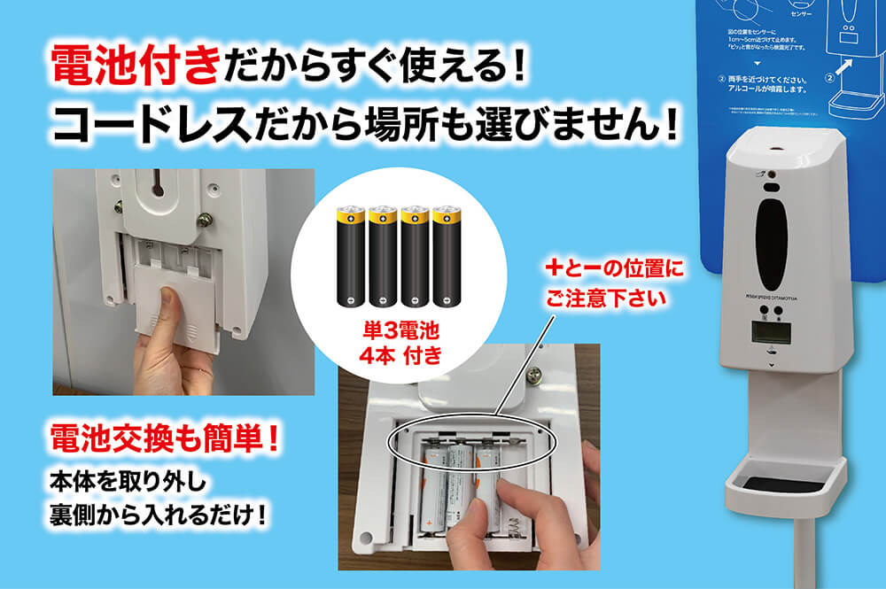電池付きだからすぐ使える!コードレスだから場所も選びません! 電池交換も簡単!本体を取り出し裏側から入れるだけ!単3電池4本付き +と-の位置にご注意下さい