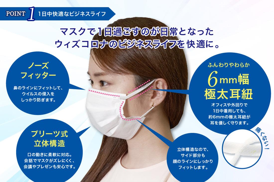 「極太耳紐 不織布マスク」99%カットフィルター採用