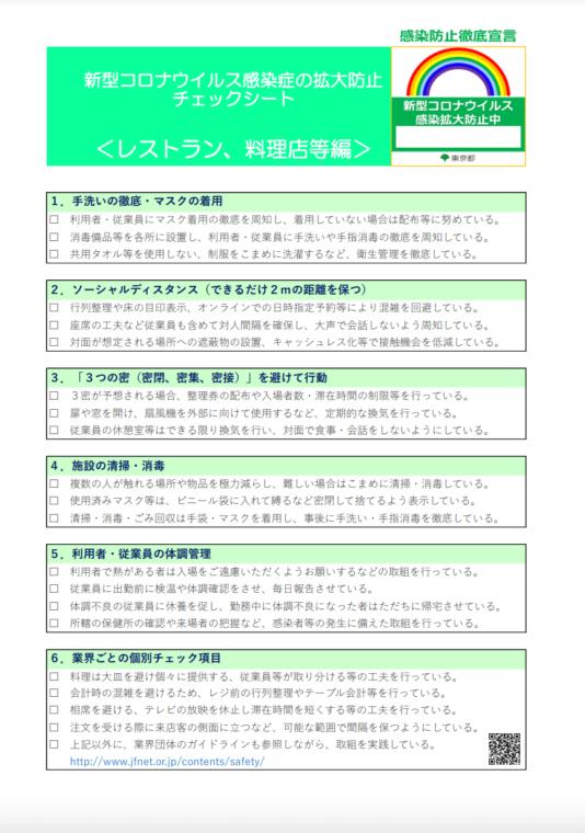 感染防止徹底宣言ステッカー(東京都)